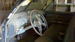 Steering wheel and interior- 1949 Oldsmobile