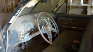 Steering wheel and interior- 1949 Oldsmobile